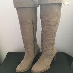 JustFab faux suede knee/thigh high boot.